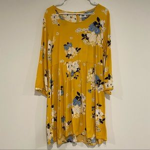 Old Navy Long Sleeve Yellow Baby Doll Dress